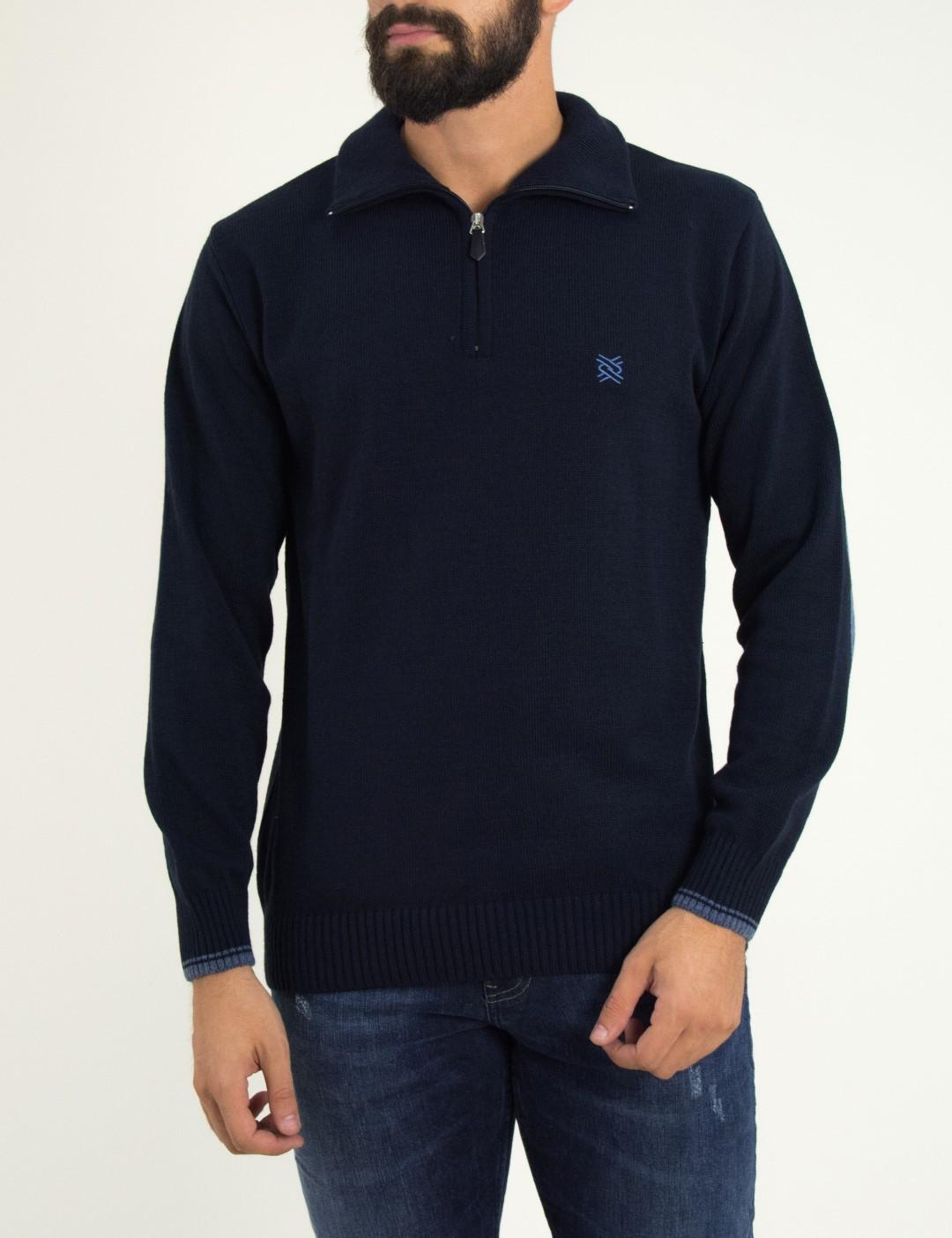 ee7258280515 Ανδρικό μπλε πουλόβερ μονόχρωμο με γιακά Darious 18566G