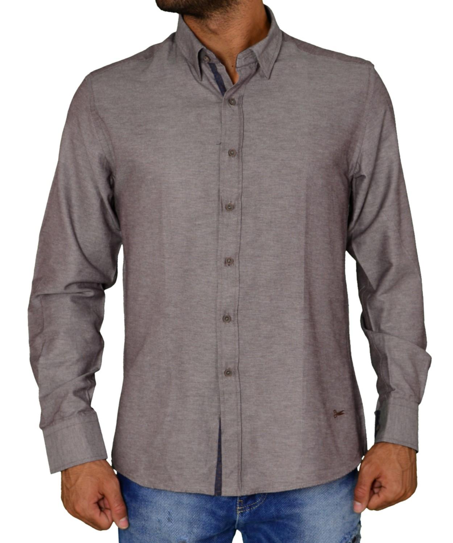dc9e9329d796 Ανδρικό πουκάμισο υφασμάτινο μονόχρωμο καφέ Ben Tailor 21916F