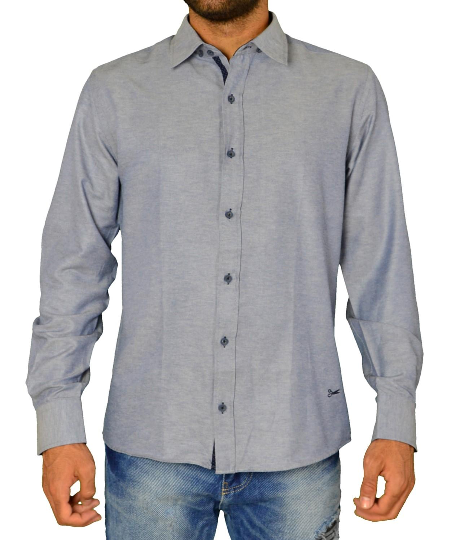 Ανδρικό πουκάμισο υφασμάτινο μονόχρωμο μπλε Ben Tailor 21916 aa8e19abe6e