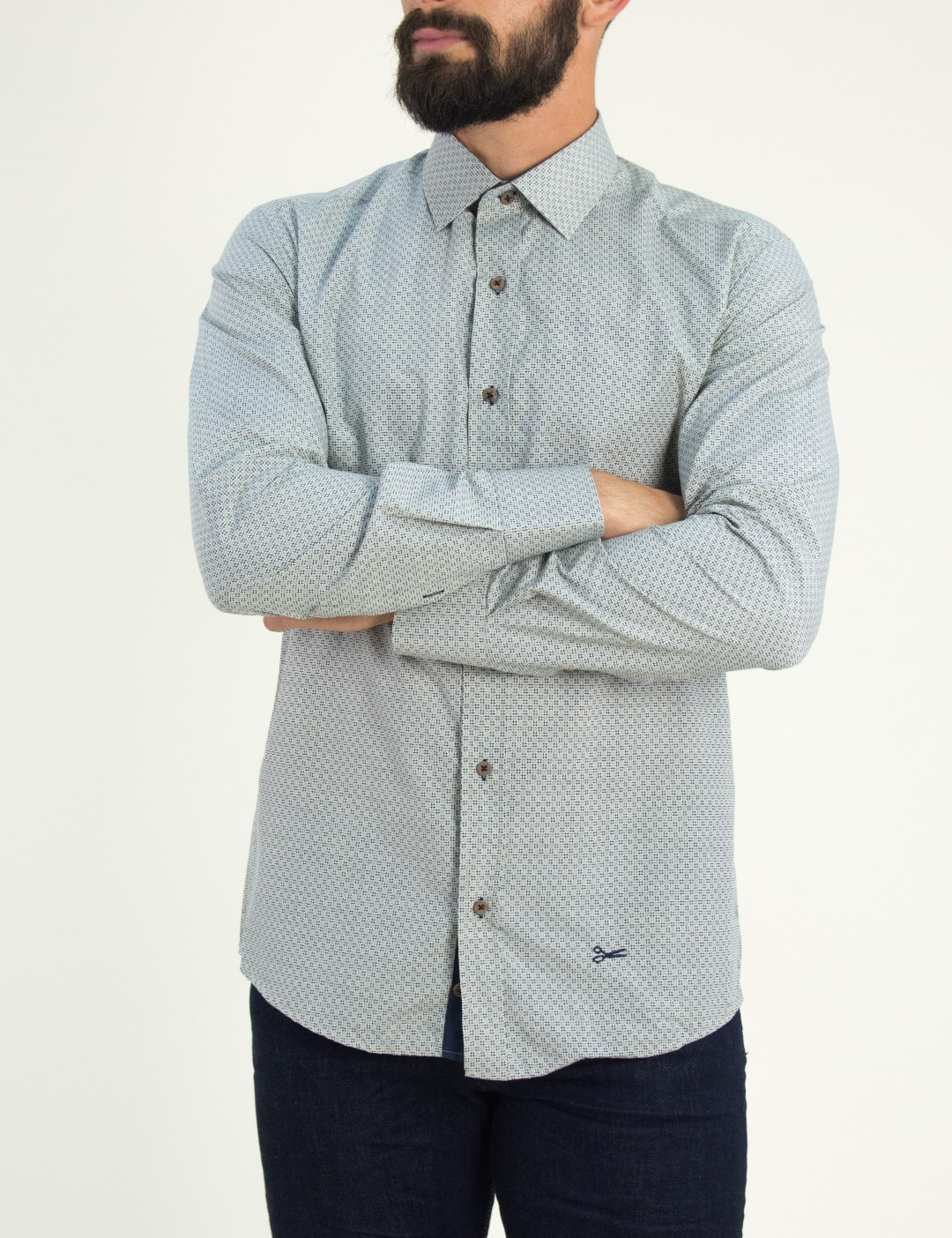 6194c3bb62ad Ανδρικό μπεζ πουκάμισο με μπλε γεωμετρικά σχέδια Ben Tailor 0084
