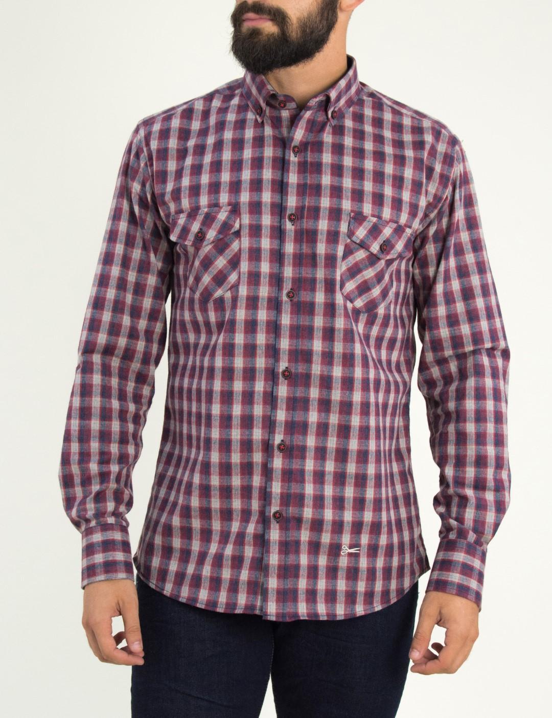 b23f21695215 GrabitApp · Ανδρικό κόκκινο καρό πουκάμισο με τσεπάκια Ben Tailor 0091