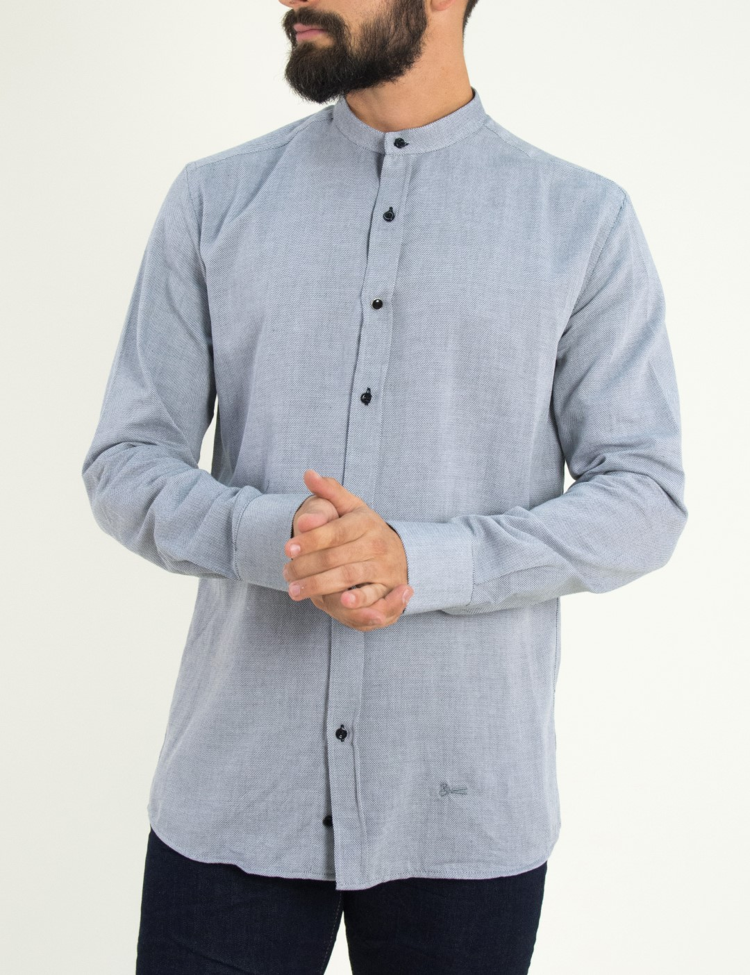3e98ae86b713 Ανδρικό γκρι πουκάμισο με μάο γιακά Ben Tailor 0089
