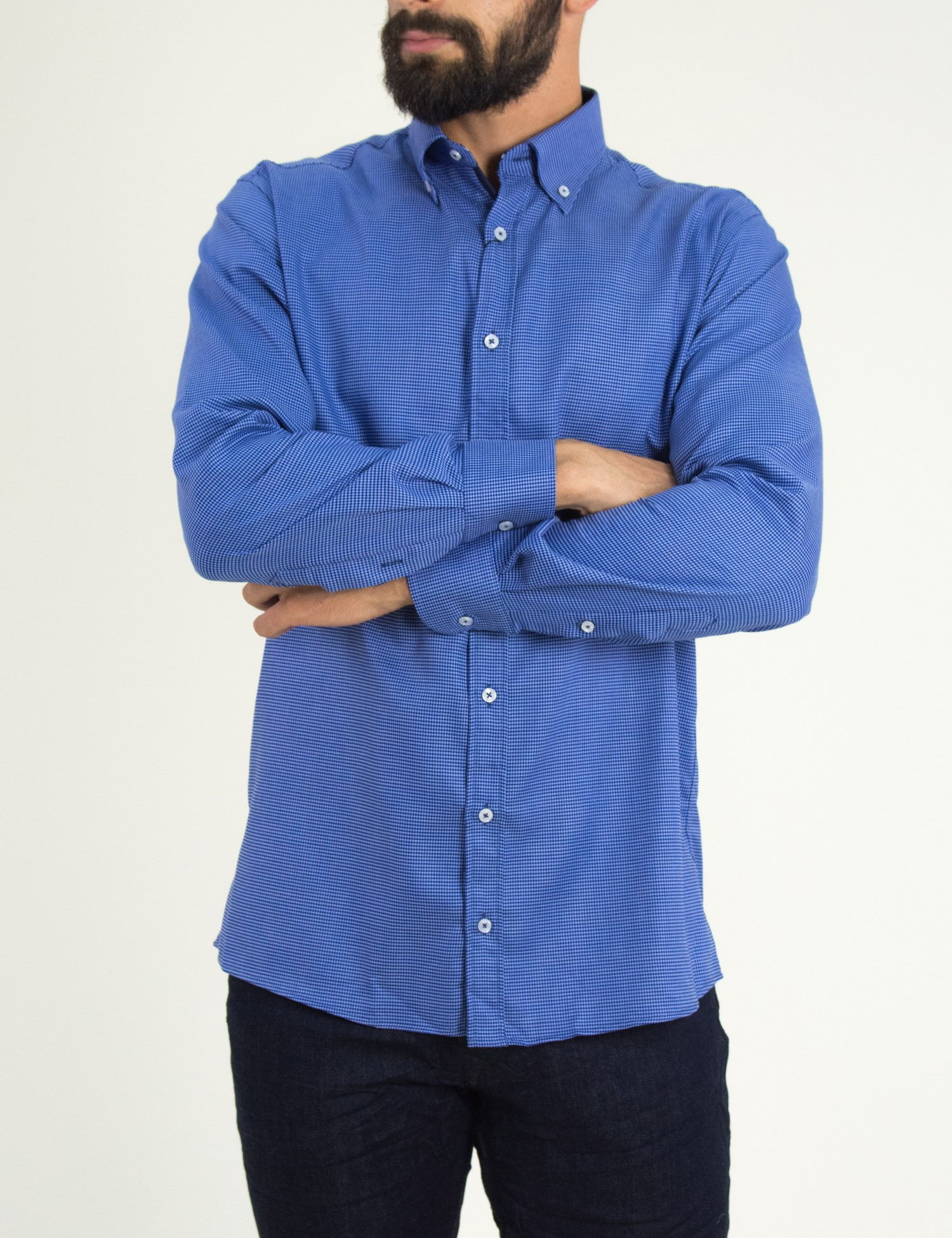 d7a6f565e356 Ανδρικό μπλέ πουκάμισο με μικροσχέδια Truzi 01912093