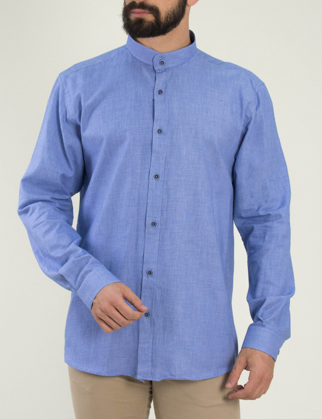 a5cfb7188ec Torouxo Ανδρικό σιελ πουκάμισο με μάο γιακά Firenze 0191120