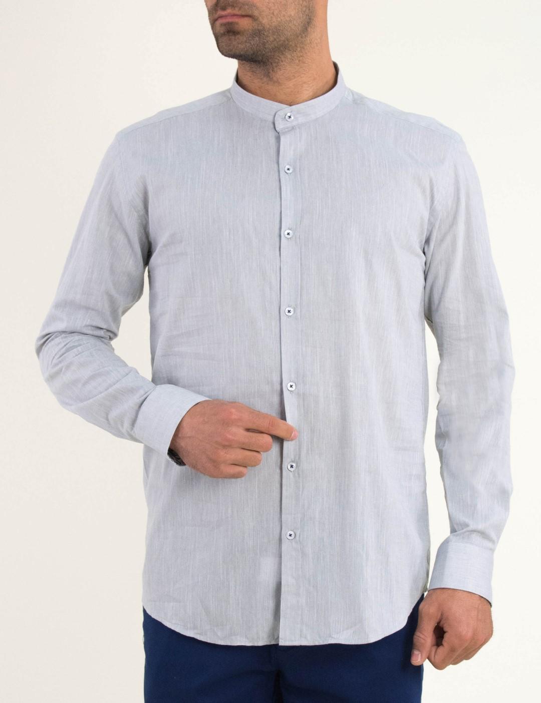 87f5e5803078 Ανδρικό γκρι πουκάμισο μαο γιακά Firenze 0195110F