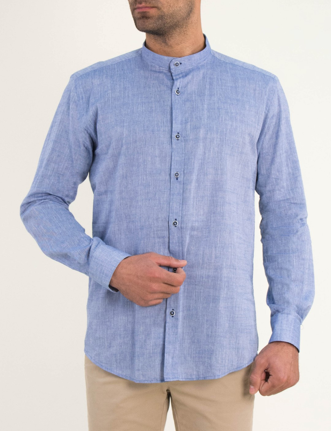 4430614d33fe Ανδρικό σιελ πουκάμισο μαο γιακά Firenze 0195110