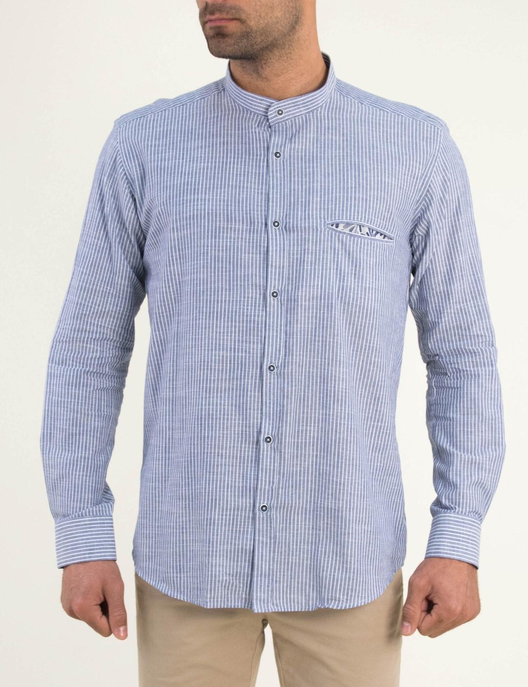11328d92ed3d Ανδρικό μπλε πουκάμισο ριγέ Firenze 0195107F