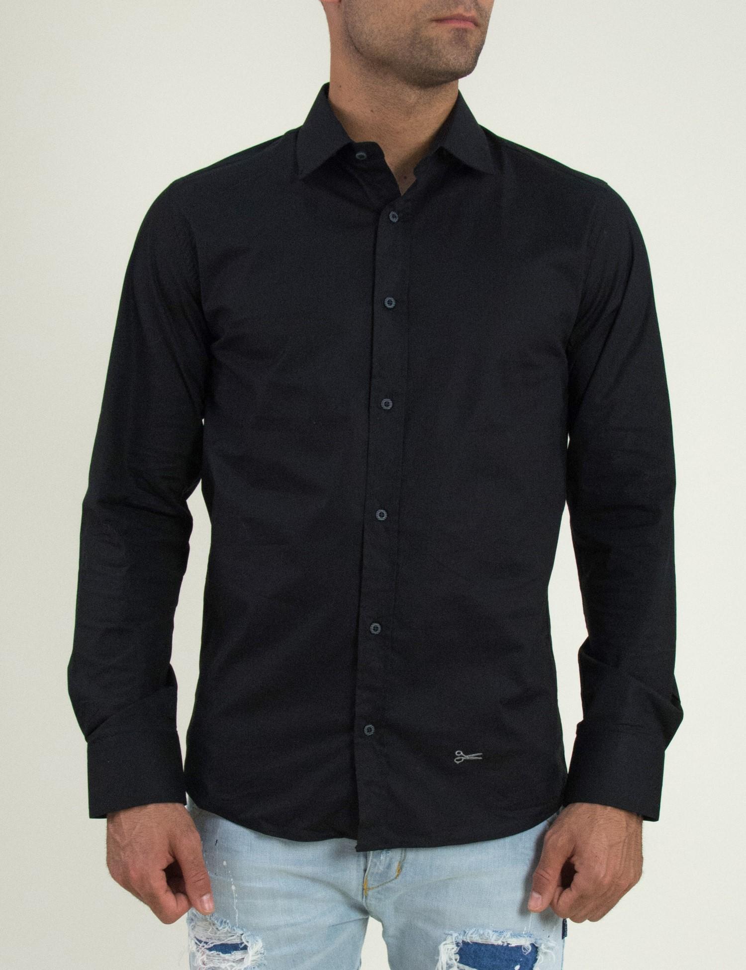 Ανδρικό μαύρο μονόχρωμο πουκάμισο Ben Tailor 185210B 2ca2878edf9