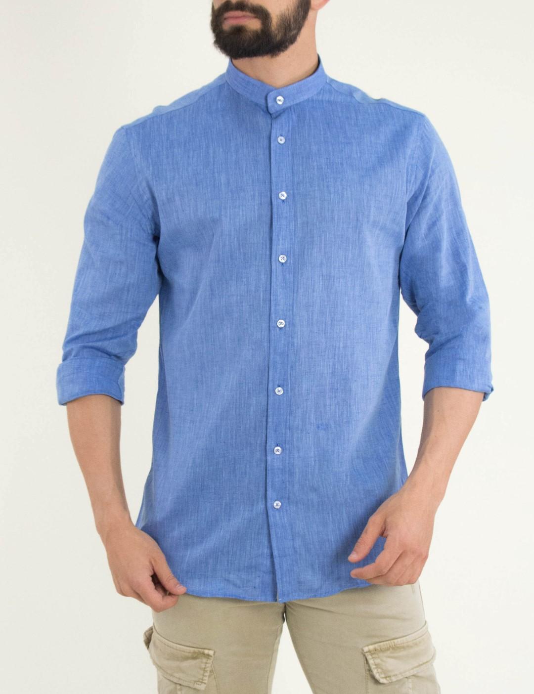 9c8cd6a57e50 Ανδρικό σιελ πουκάμισο μαο γιακά GioS 9138S19