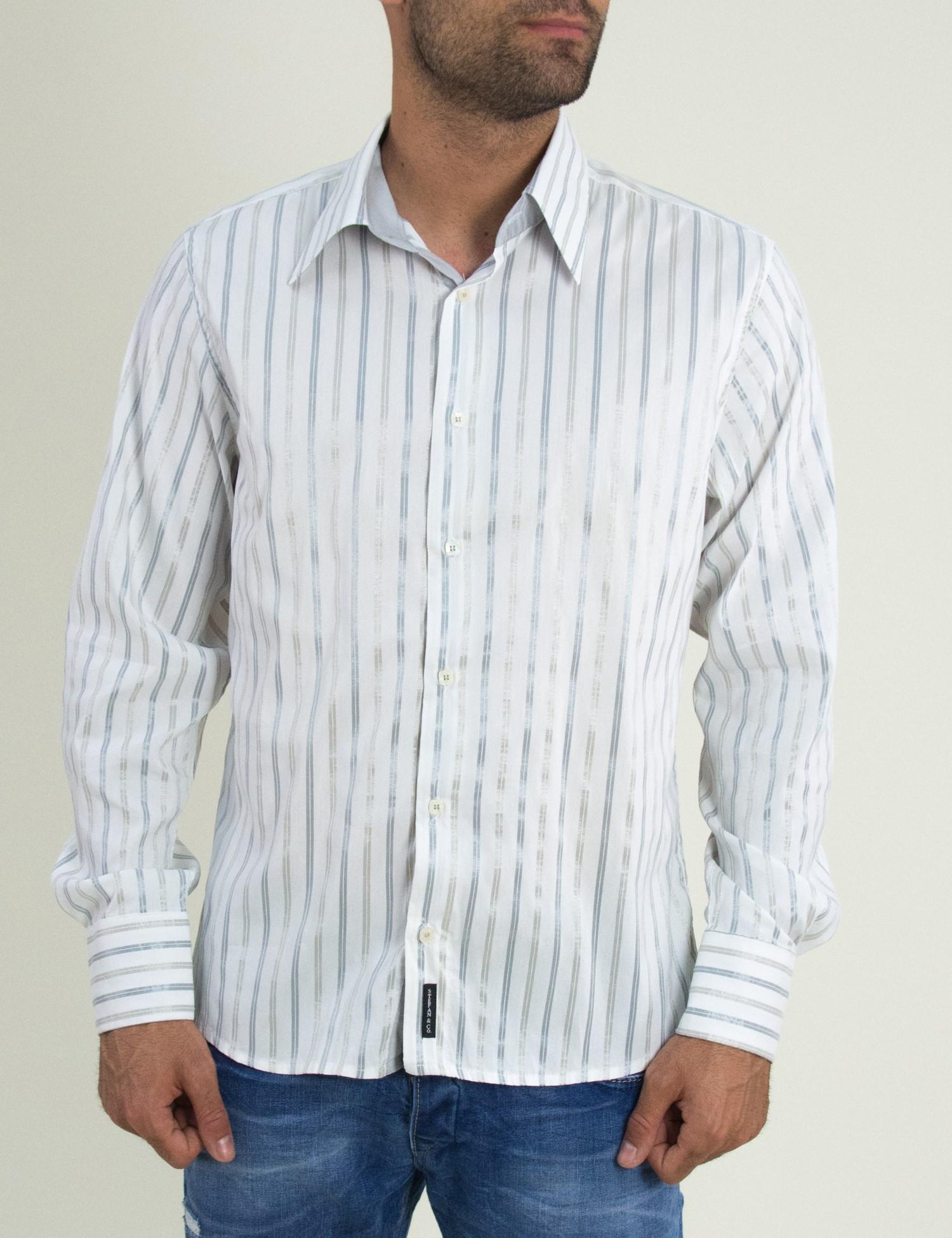 Ανδρικό ελαστικό πουκάμισο λευκό με γκρι 081070 bf033d7db84