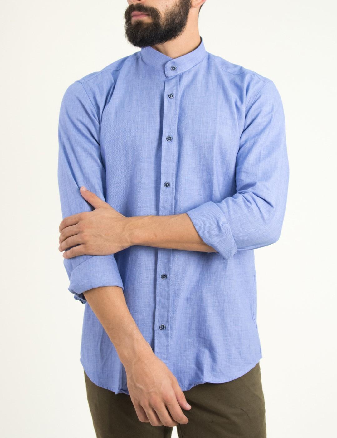 Ανδρικό σιελ πουκάμισο με μάο γιακά Firenze 0191120 ea116b3930d