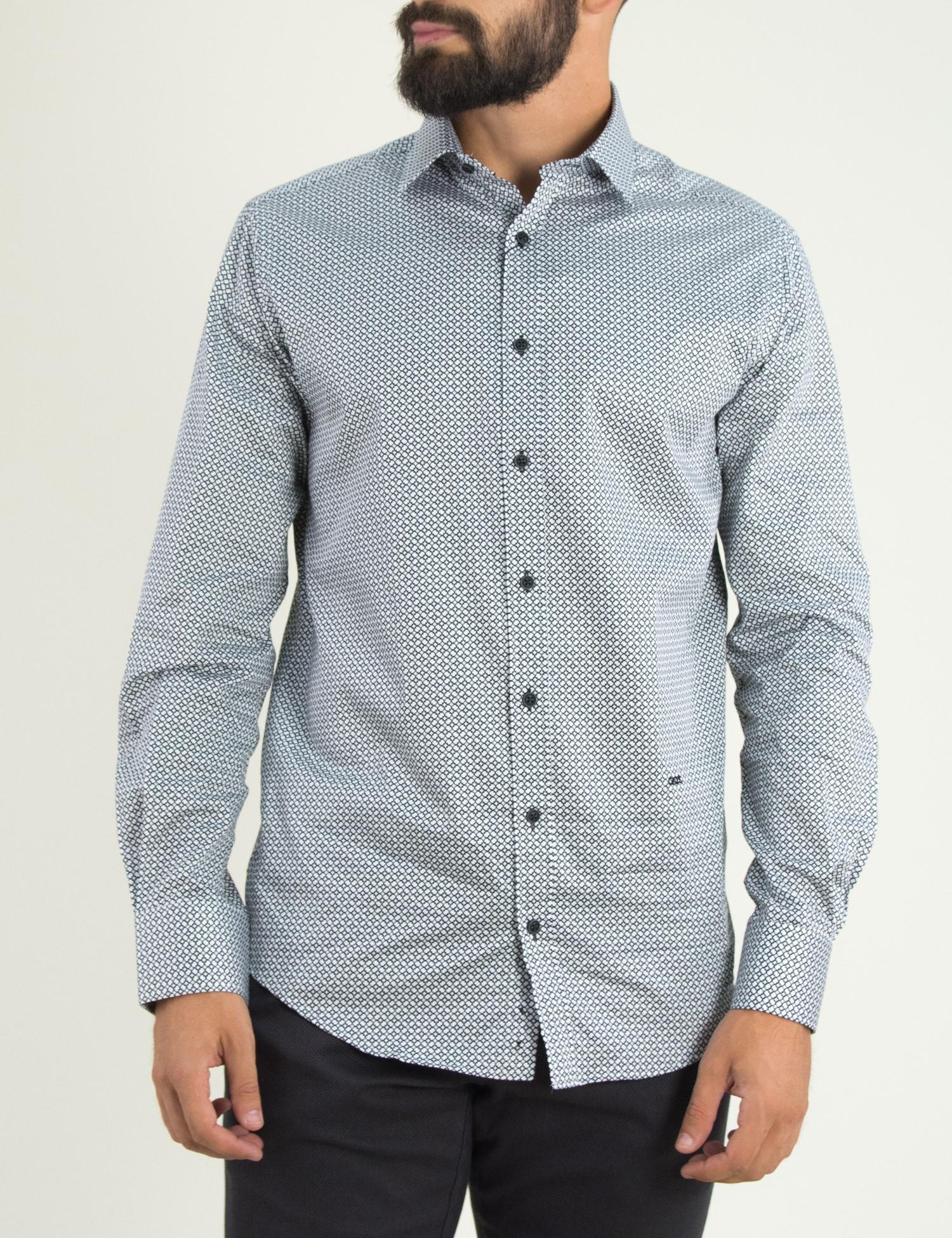 122fc8aa4d24 Ανδρικό λευκό πουκάμισο με μικροσχέδιο GioS 9506W18