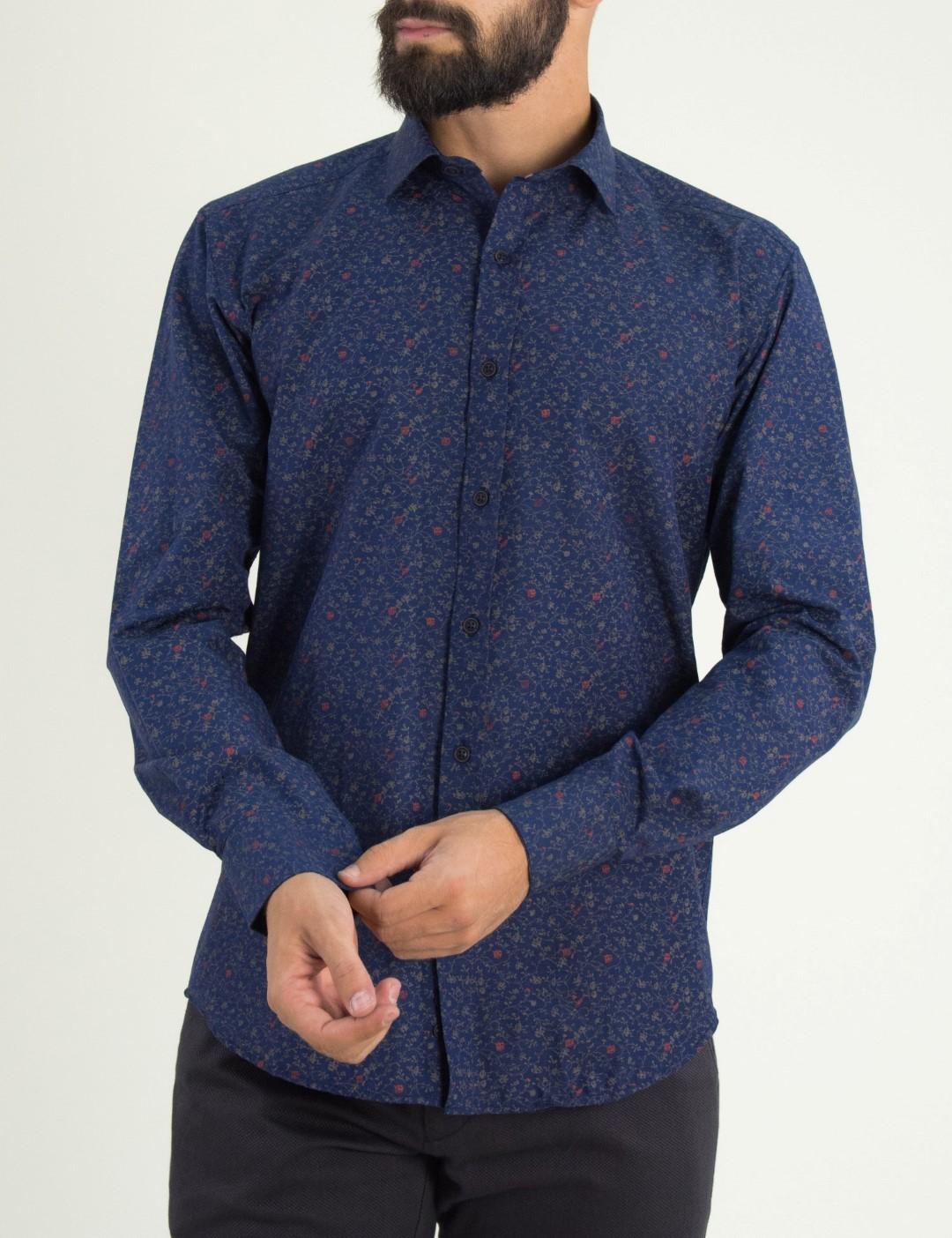 Ανδρικό μπλέ εμπριμέ πουκάμισο Firenze 01911226 0a3d19dc2a5