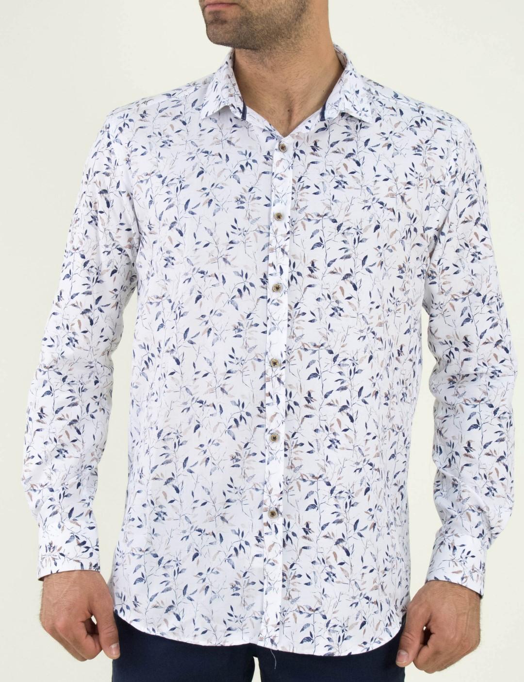 ae420e1ef71f Ανδρικό λευκό πουκάμισο φλοραλ Firenze 01951089