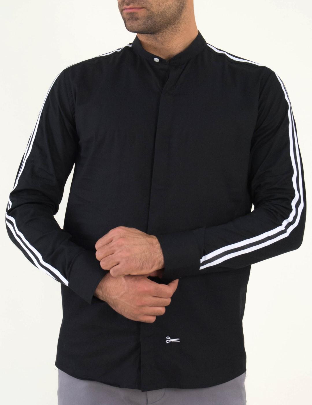 8f3c78f3c0cd Ανδρικό μαύρο πουκάμισο λευκή ρίγα μάο γιακάς Ben Tailor 1099