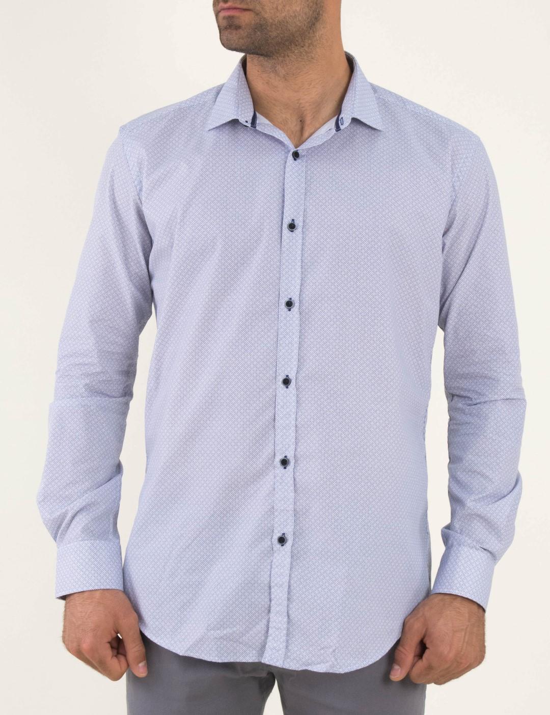 78bd82daef82 Ανδρικό λευκό πουκάμισο μπλε μικροσχέδιο Firenze 0191136
