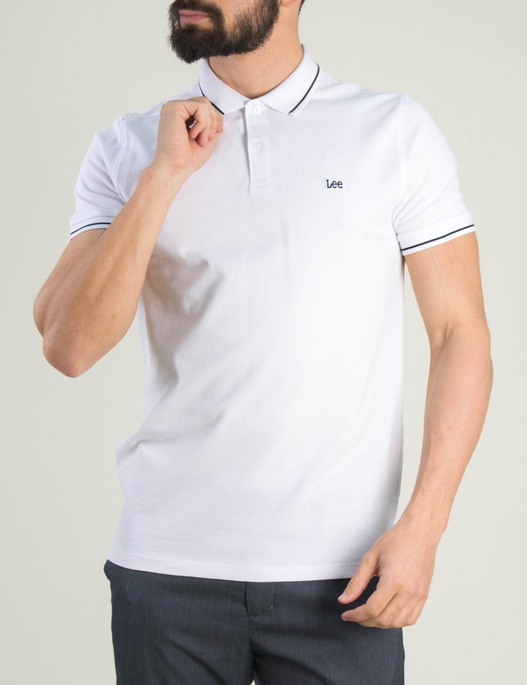 14a315590ad4 Ανδρική λευκή Polo κοντομάνικη μπλούζα Lee L61ARLLJ
