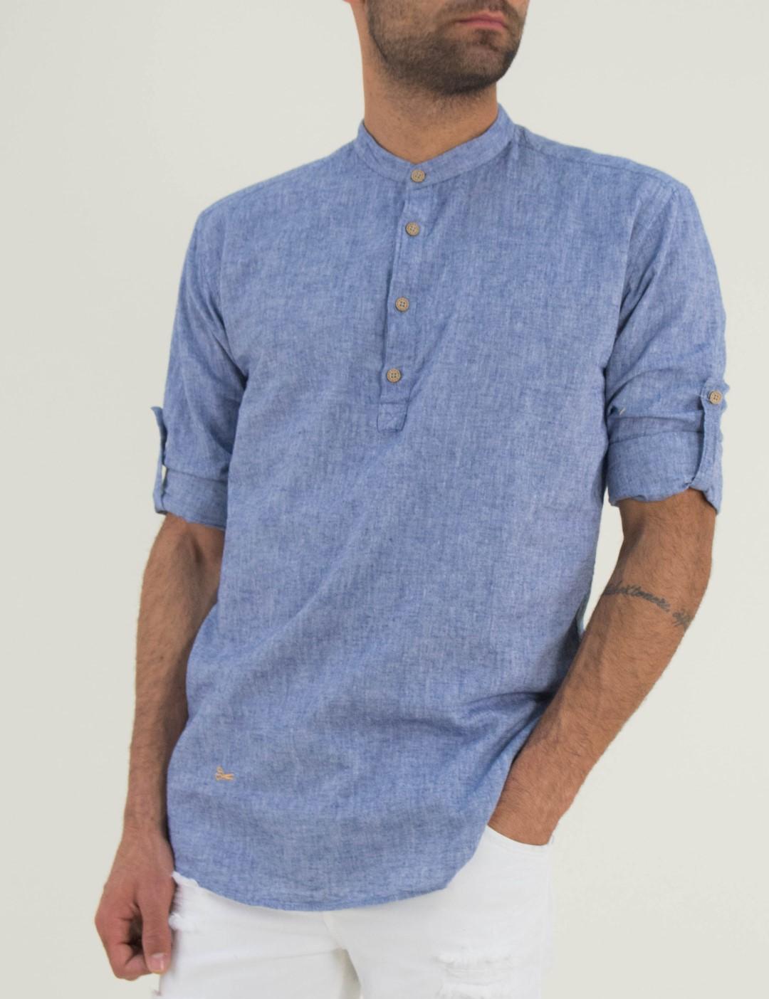 4eeece594182 Ανδρικό μπλέ πουκάμισο Ben Tailor μαο γιακά 1128D