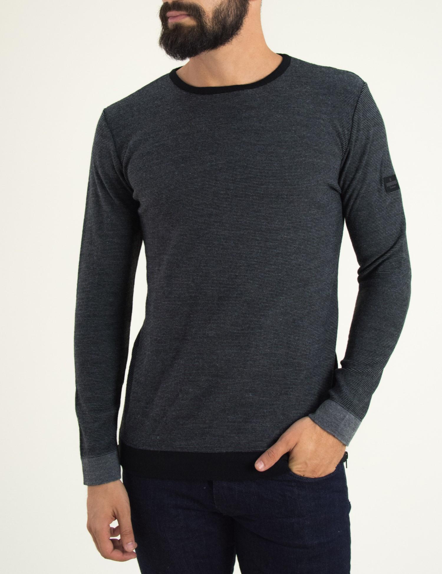 c8779f3d58be Ανδρική μακρυμάνικη πλεκτή μπλούζα Darious μαύρη ριγέ 1744
