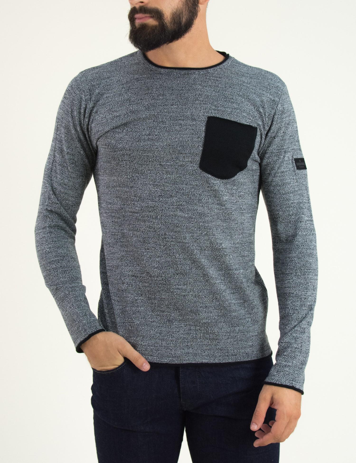6c2744552054 Ανδρική πλεκτή μπλούζα Darious γκρι με τσεπάκι 1721Q
