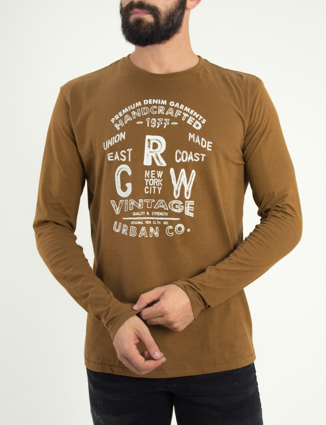 14a79a60f197 Ανδρικό Tshirt · Ανδρική κάμελ μακρυμάνικη μπλούζα Green Wood τύπωμα  02K900982D