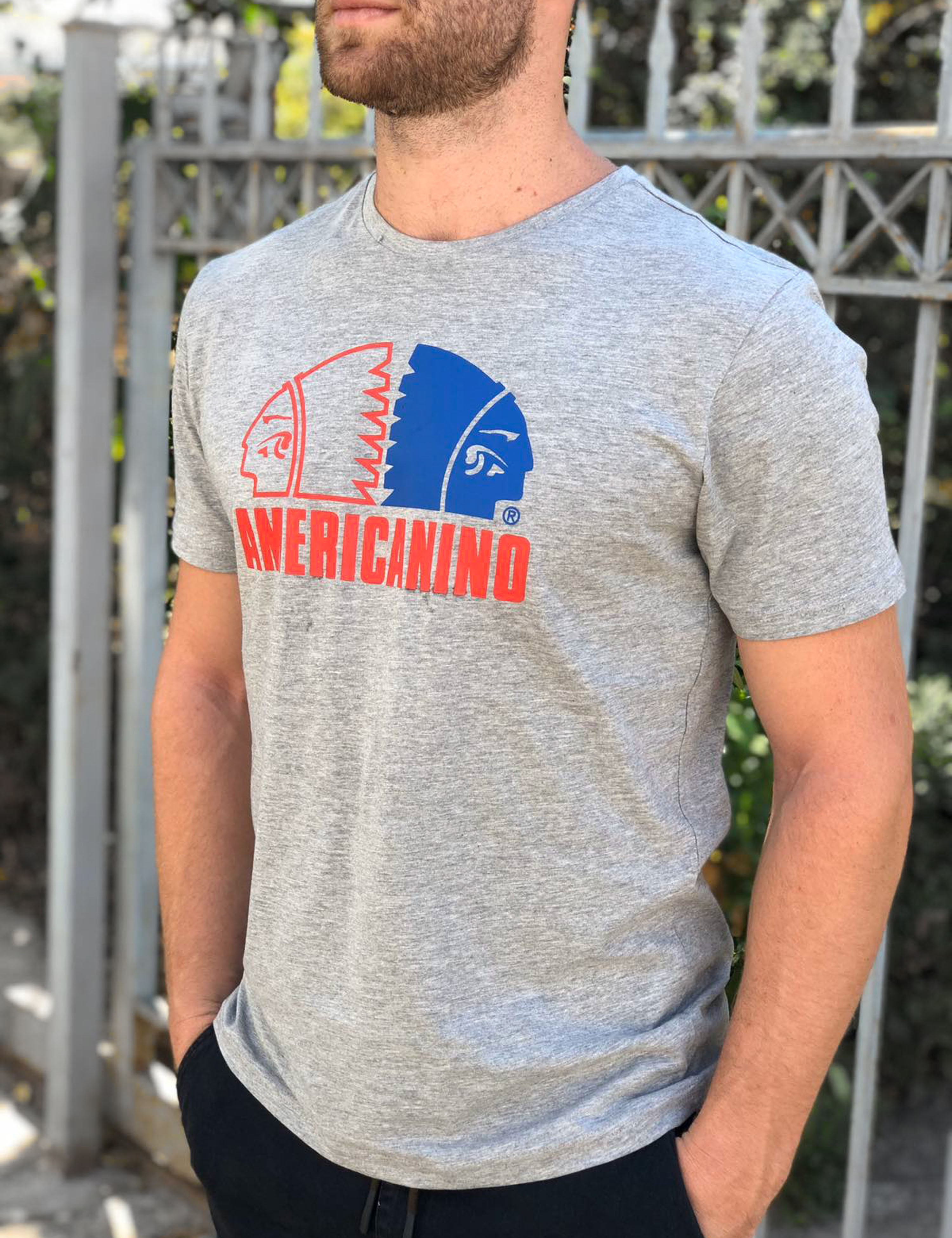 Americanino ανδρικό γκρι Tshirt με τύπωμα AMT025G