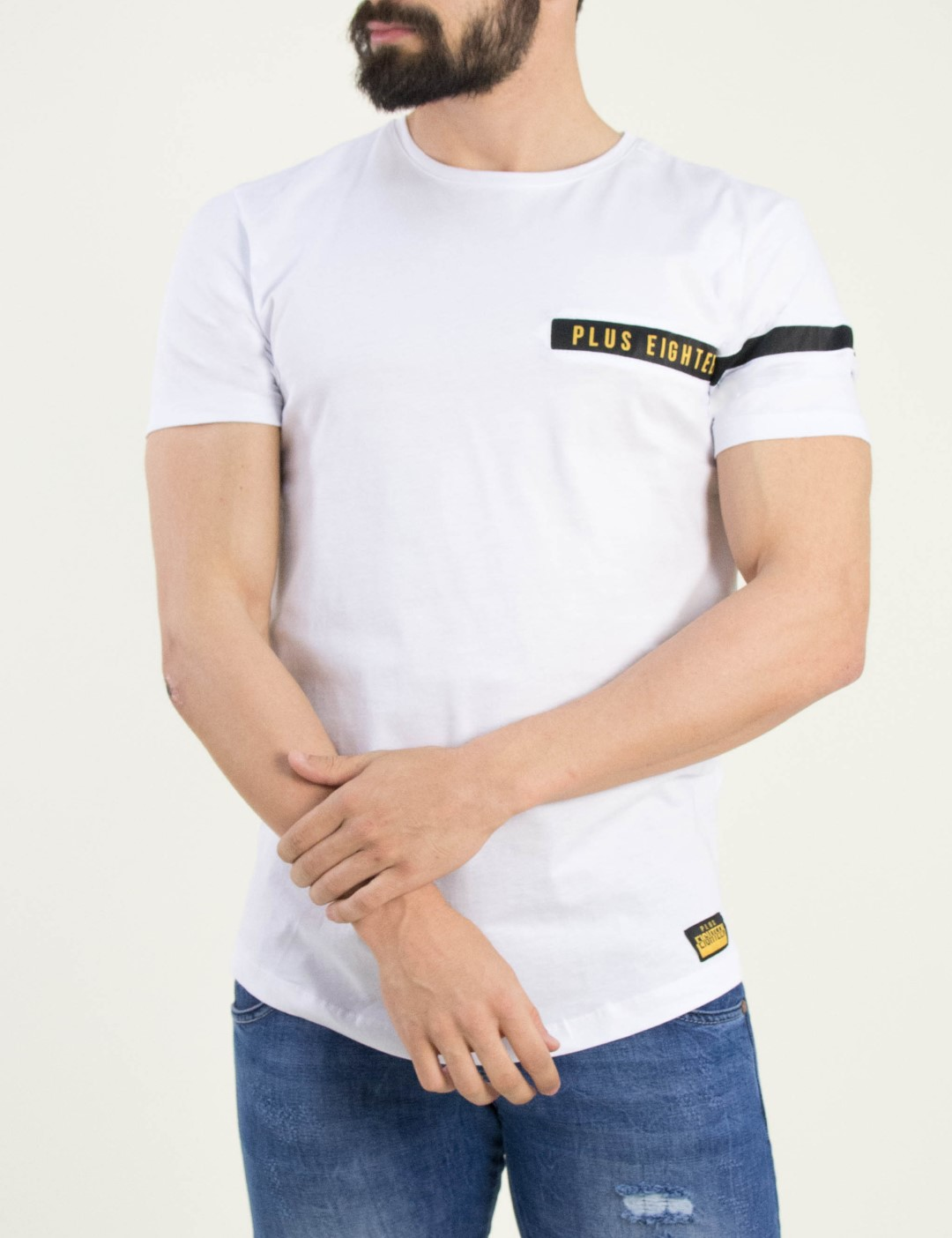 2e4a091782f9 Ανδρικό λευκό Tshirt μονόχρωμο Plus Eighteen 3608L