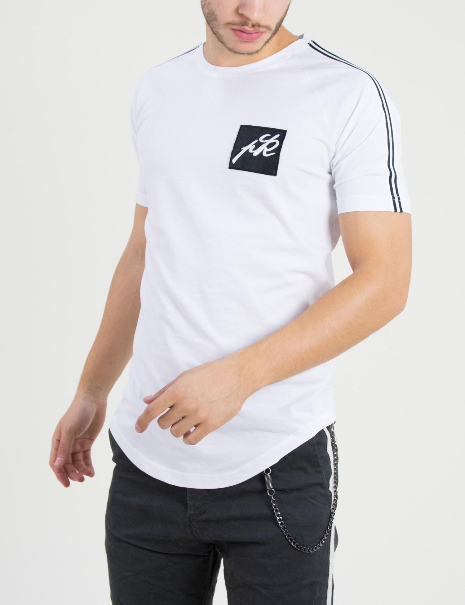 1ec3be2b2e0c Ανδρική λευκή με ρίγα κοντομάνικη μπλούζα Ponte Rosso 182032