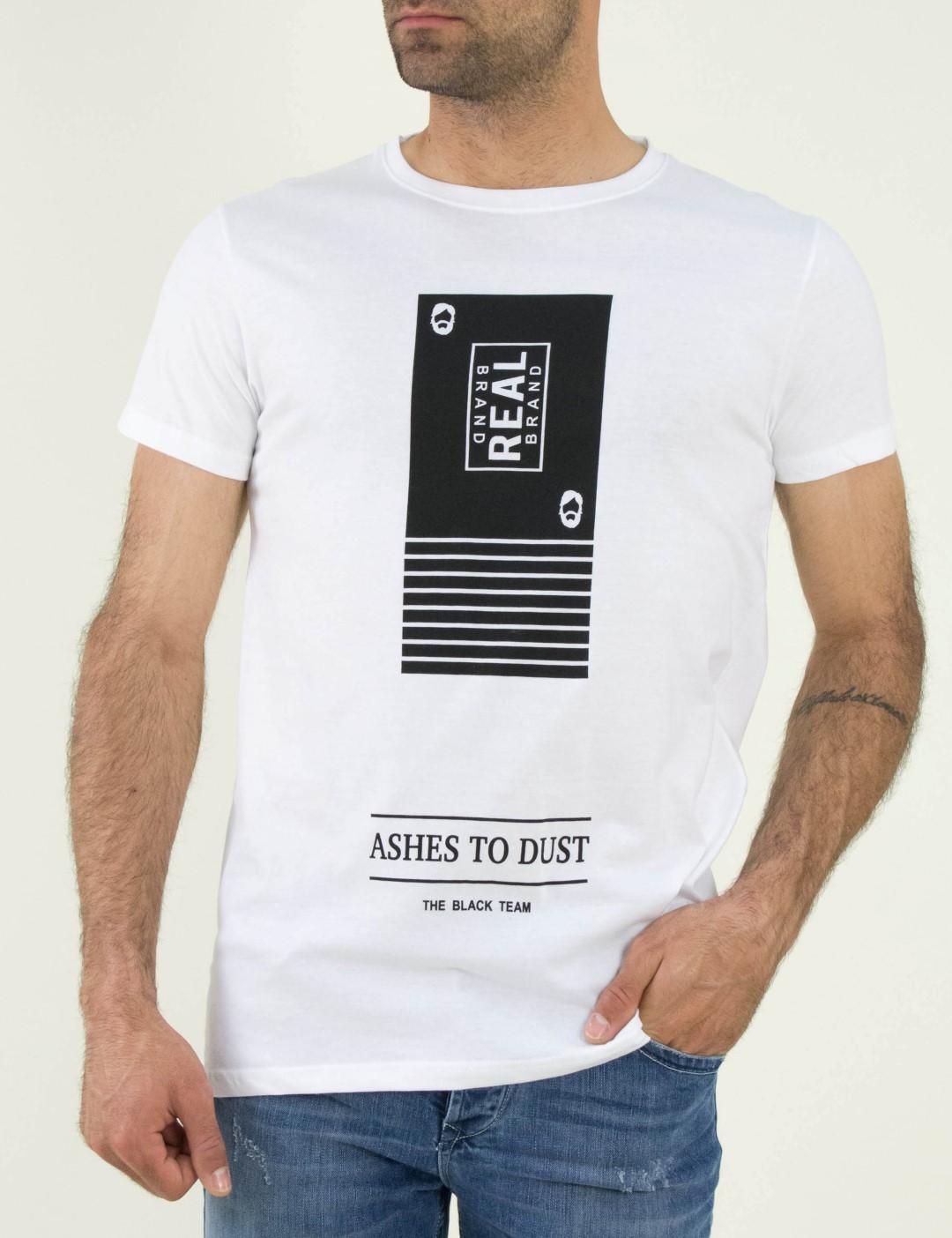 5a5860de8dc7 Ανδρικό λευκό βαμβακερό Tshirt τύπωμα 06703D