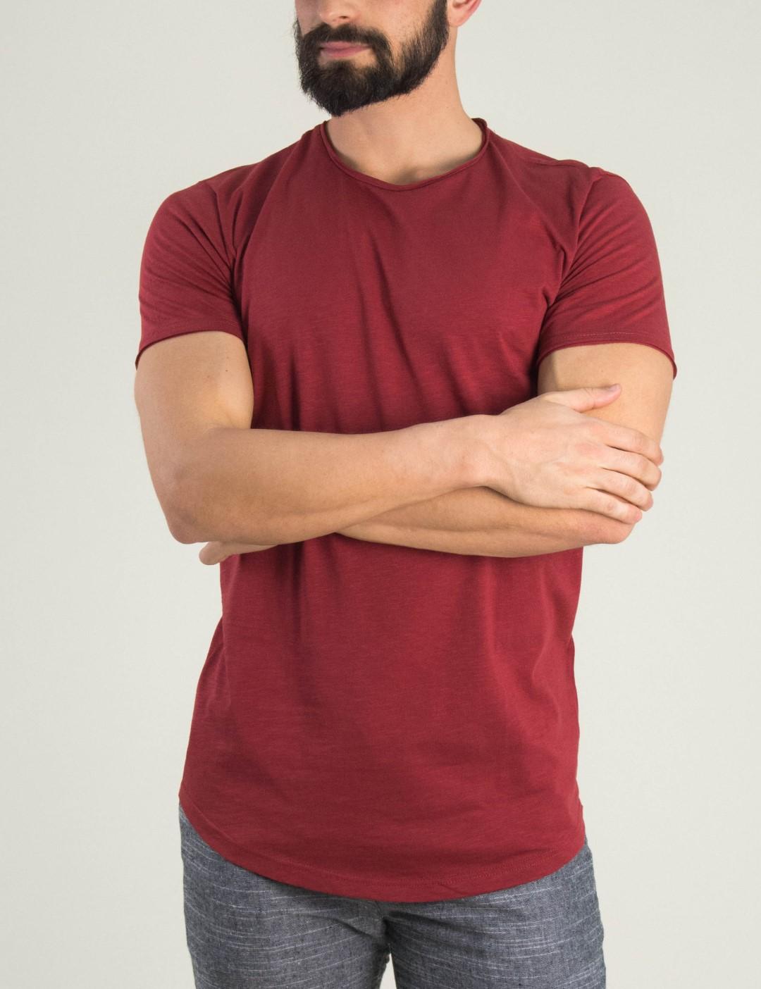 fc1a44b2970c Ανδρικό μπορντό t-shirt Brothers μονόχρωμο 19002