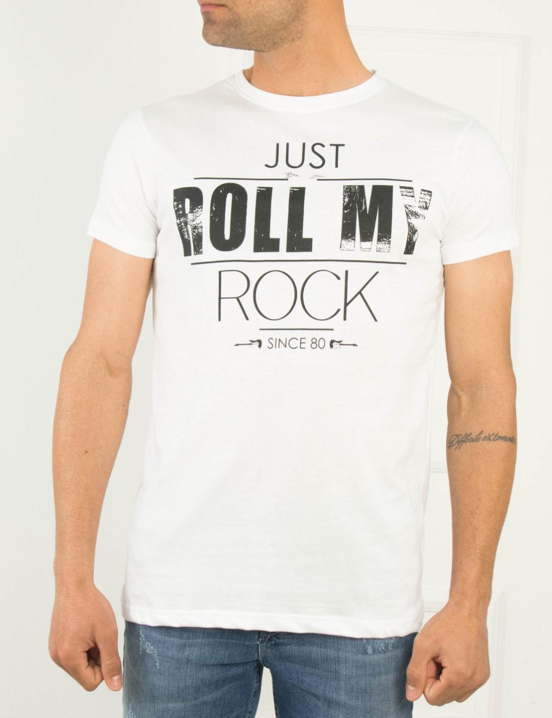 0b0d2a308f24 Ανδρικό λευκό Tshirt βαμβακερό τύπωμα 06707