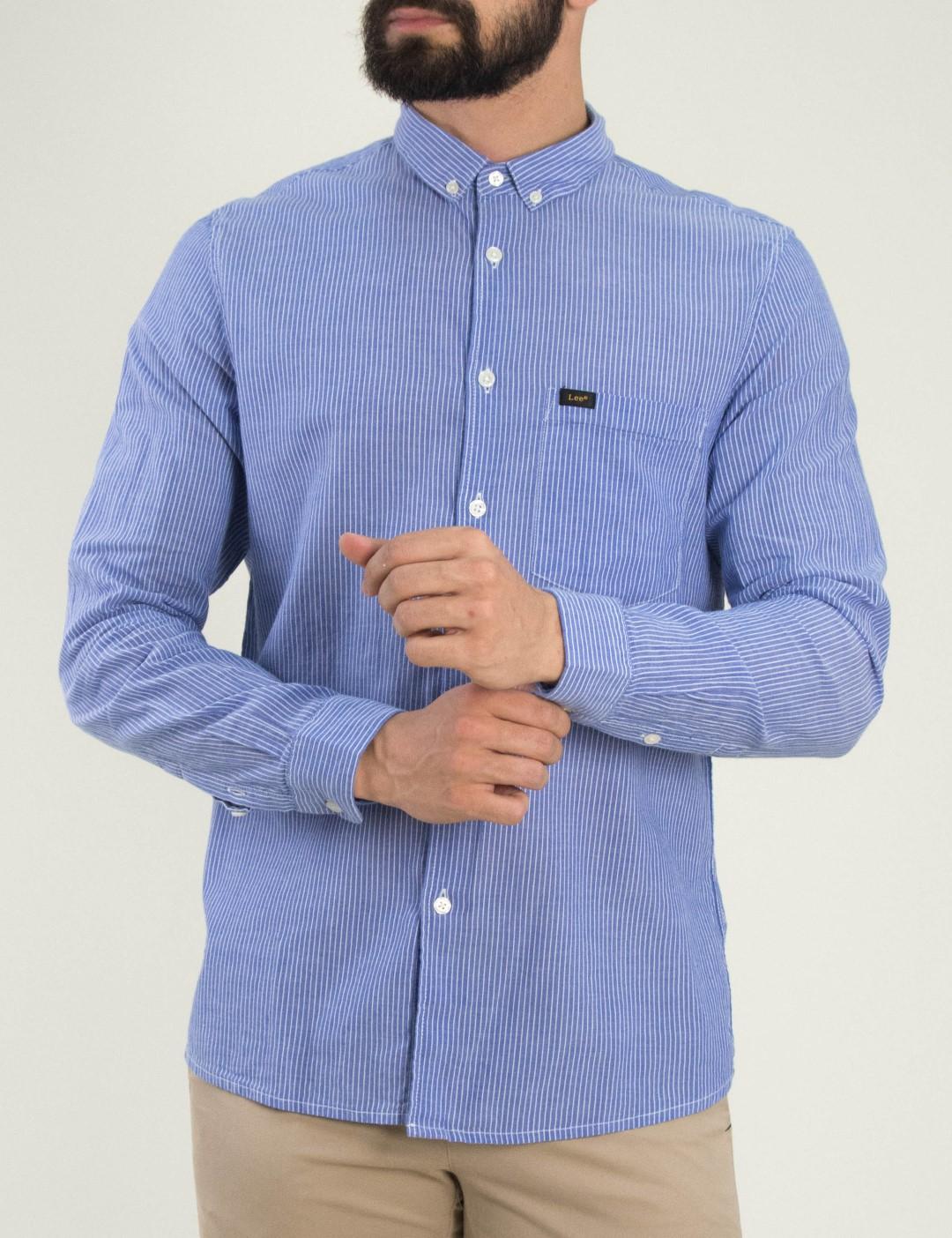 ce452258a09f Ανδρικό σιέλ ριγέ πουκάμισο Lee με τσεπάκι L66XNGLH