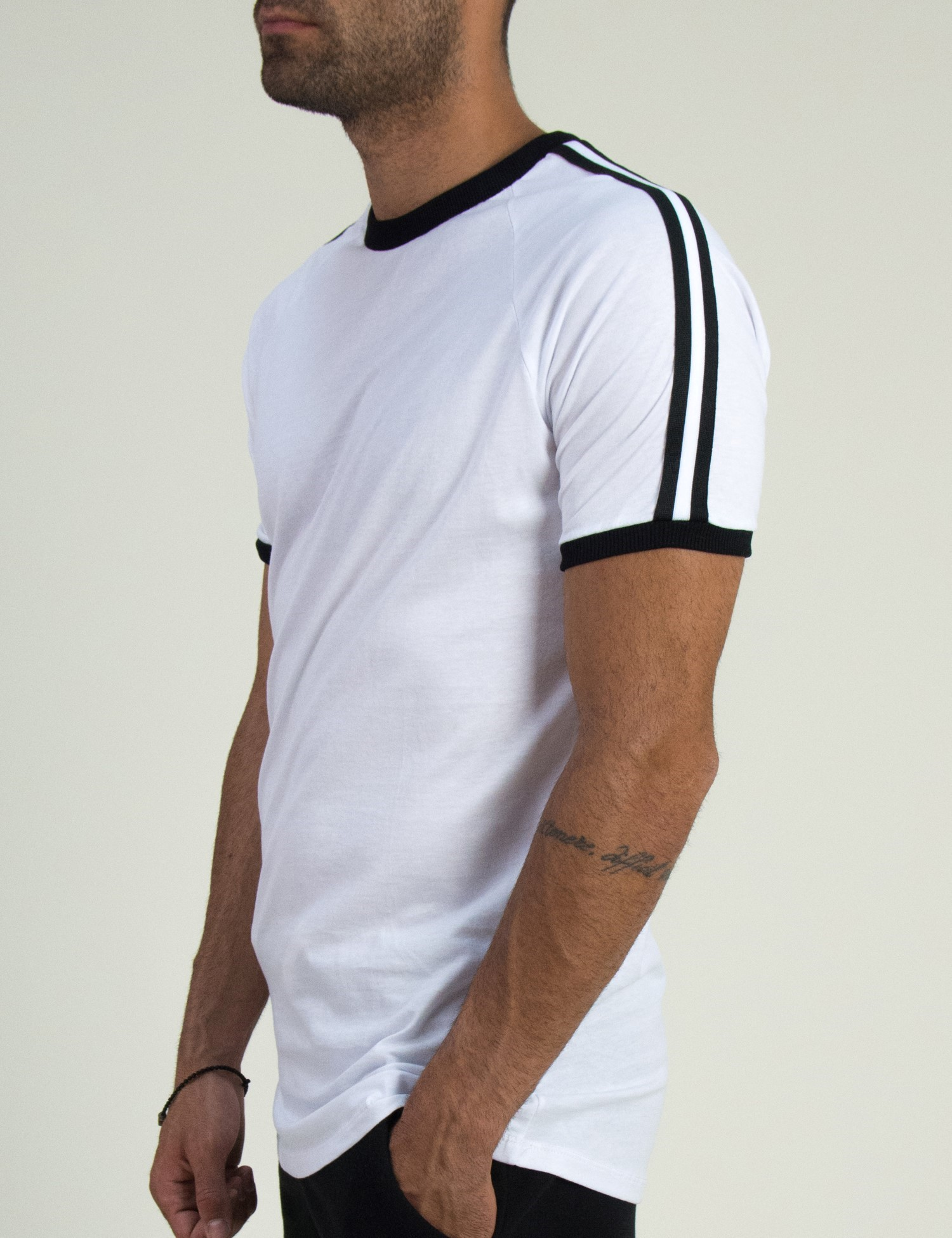 035ef7a9fd05 Ανδρική λευκή κοντομάνικη μπλούζα Ben Tailor με ρίγες 1307