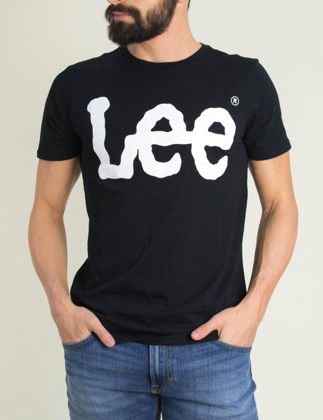 Ανδρική μαύρη κοντομάνικη μπλούζα Lee λογότυπο L62AAI01 f2df8254d2a