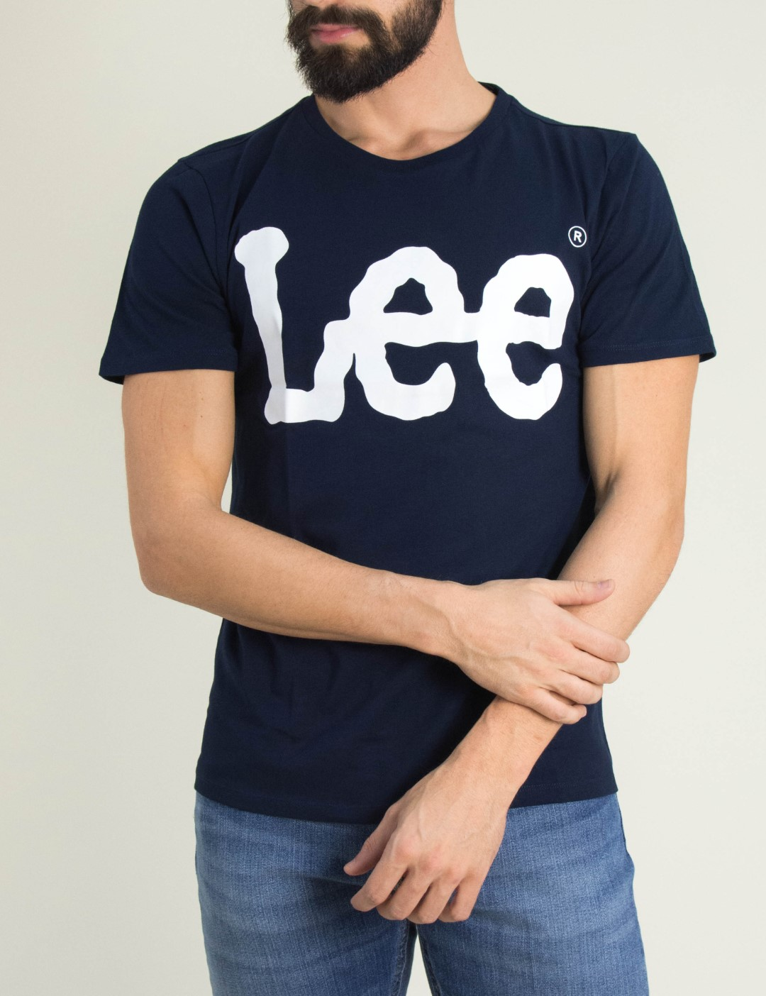 Ανδρική μπλε κοντομάνικη μπλούζα Lee λογότυπο L62AAIEE bba1e1fcd9a
