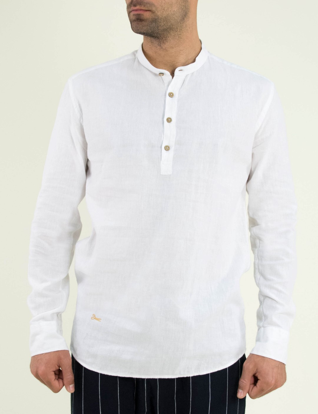c6a8a1f0080b Ανδρικό λευκό πουκάμισο Ben Tailor μαο γιακά 1128Q