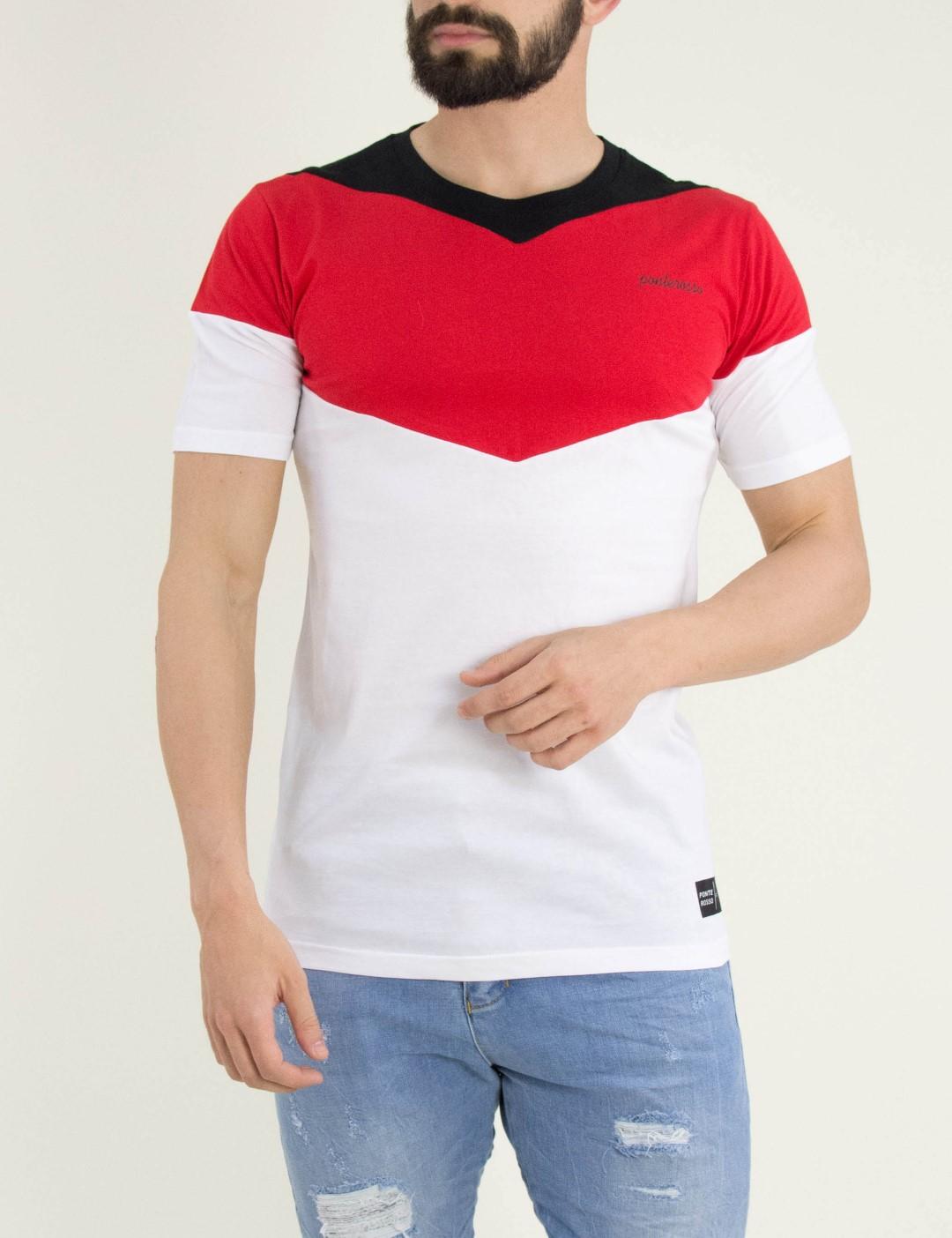 b832e1e3444e Ανδρικό t-shirt · Ανδρικό κόκκινο Tshirt μπλουζάκι τριχρωμία 191030