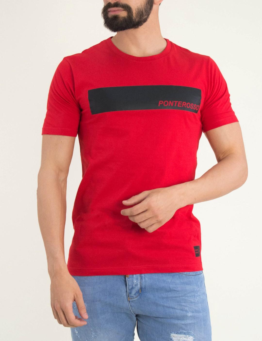 30786542bc24 Ανδρικό κόκκινο Tshirt στάμπα Ponte rosso 191028