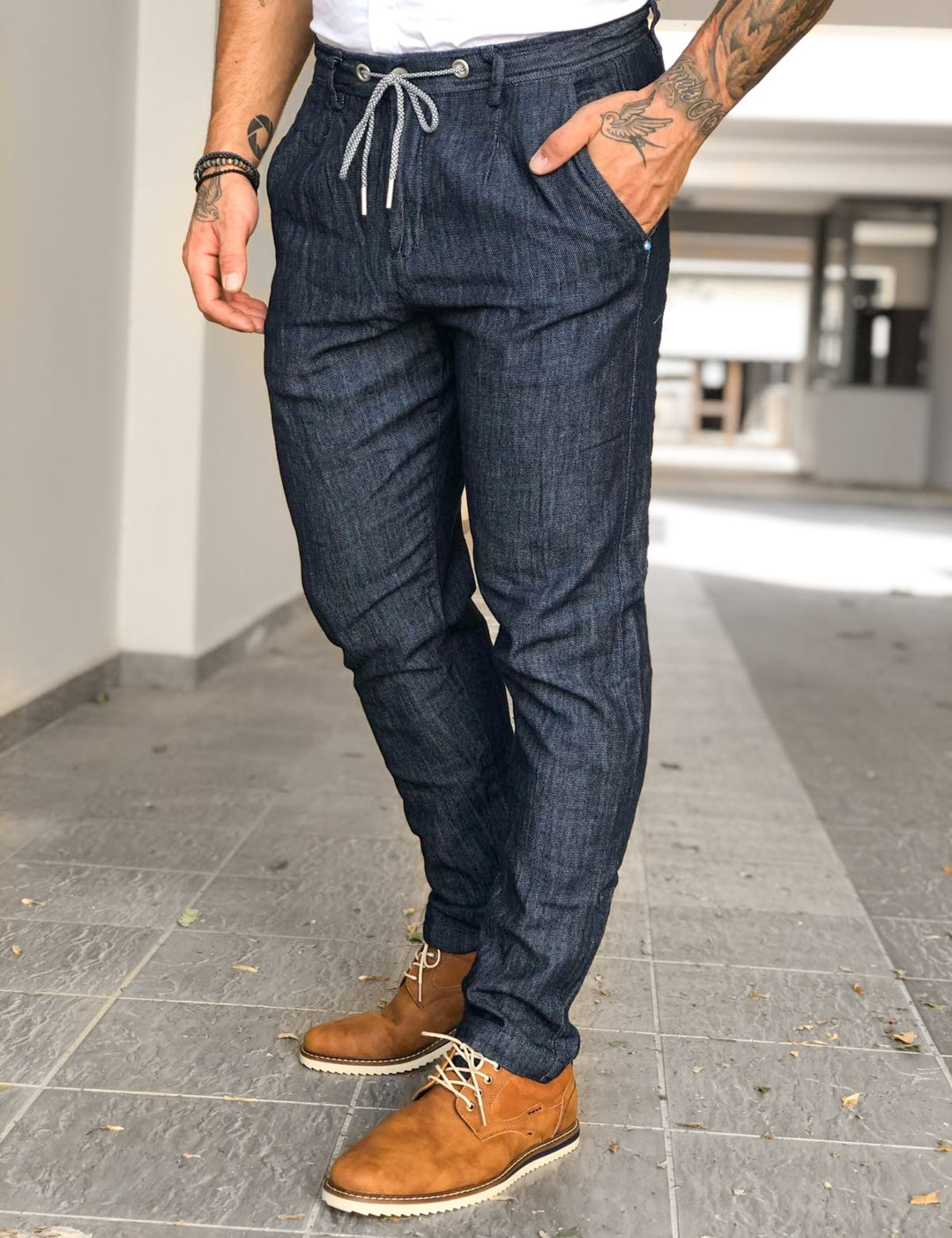 Ανδρικό μπλε λινό υφασμάτινο παντελόνι με κορδόνι 20775