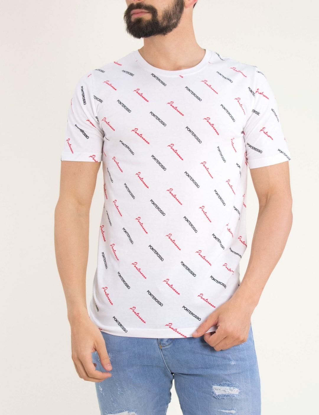 865a19f3a52b Ανδρικό λευκό Tshirt τυπώματα Ponte rosso 191020