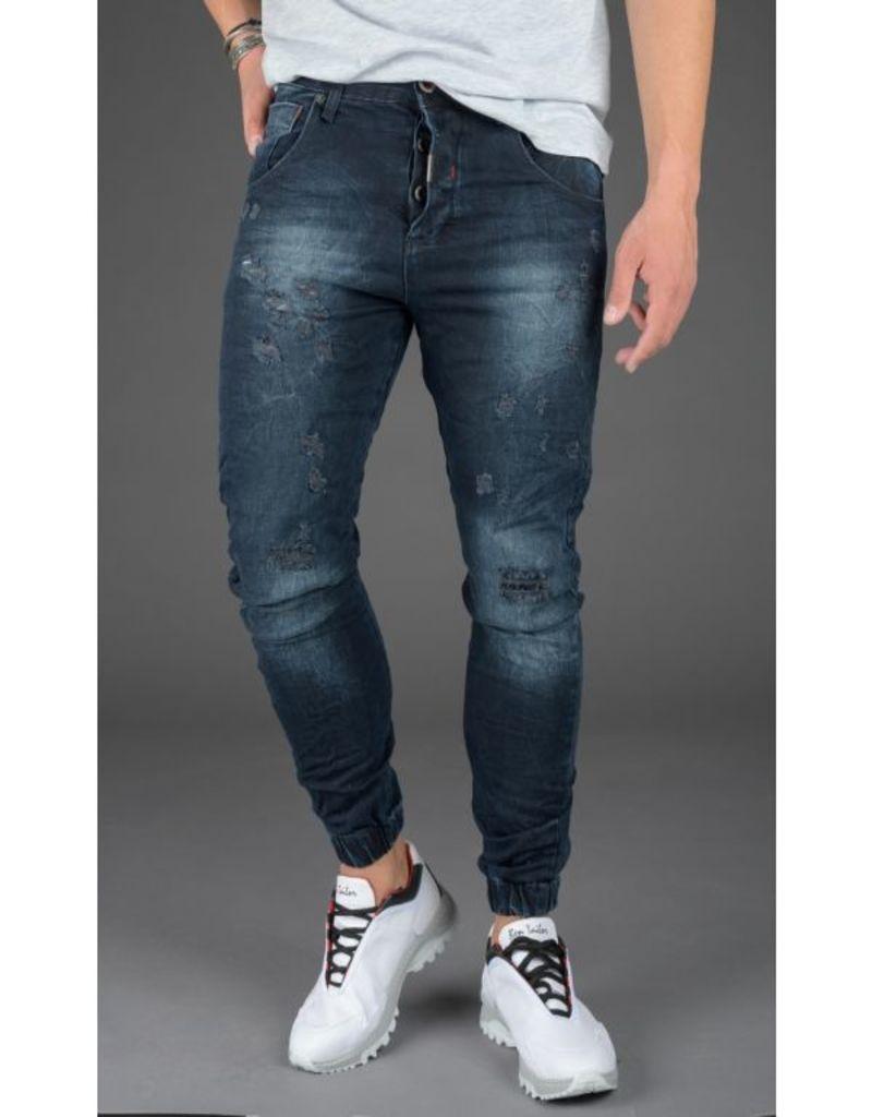Ben Tailor Jean Ezekiel ανδρικό μπλε τζιν πεντελόνι με φθορές 80112