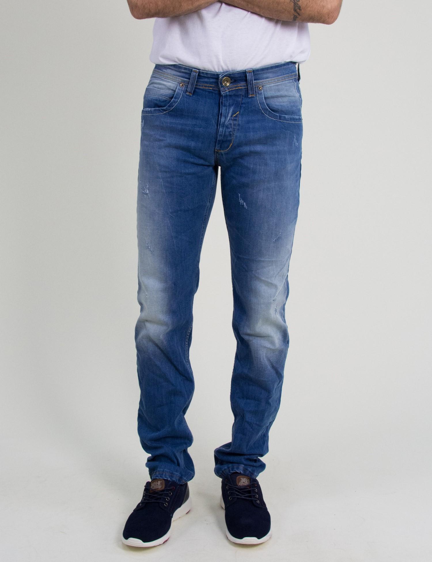 8899e81a03f5 Ανδρικό τζιν παντελόνι Trial μπλε φθορές ξεβάμματα Nathan 18