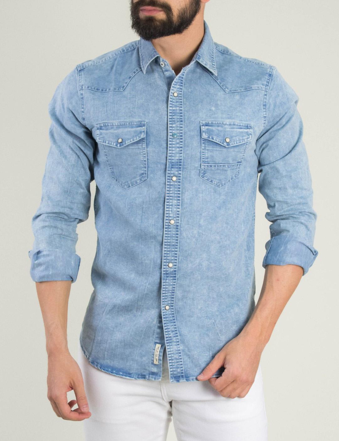 3a9def54fa29 Ανδρικό χλώριο τζιν πουκάμισο τσεπάκια 5510