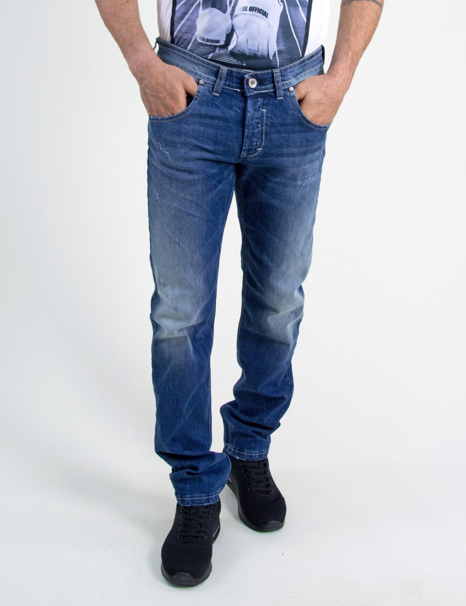 9aa6deb2c789 Ανδρικό τζην παντελόνι Trial μπλε ανοιχτό με ξεβάμματα MarvinC