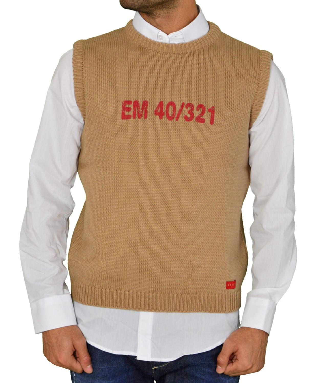 Ανδρική Αμάνικη Πλεκτή Μπλούζα Μπεζ Με Τύπωμα 78964C