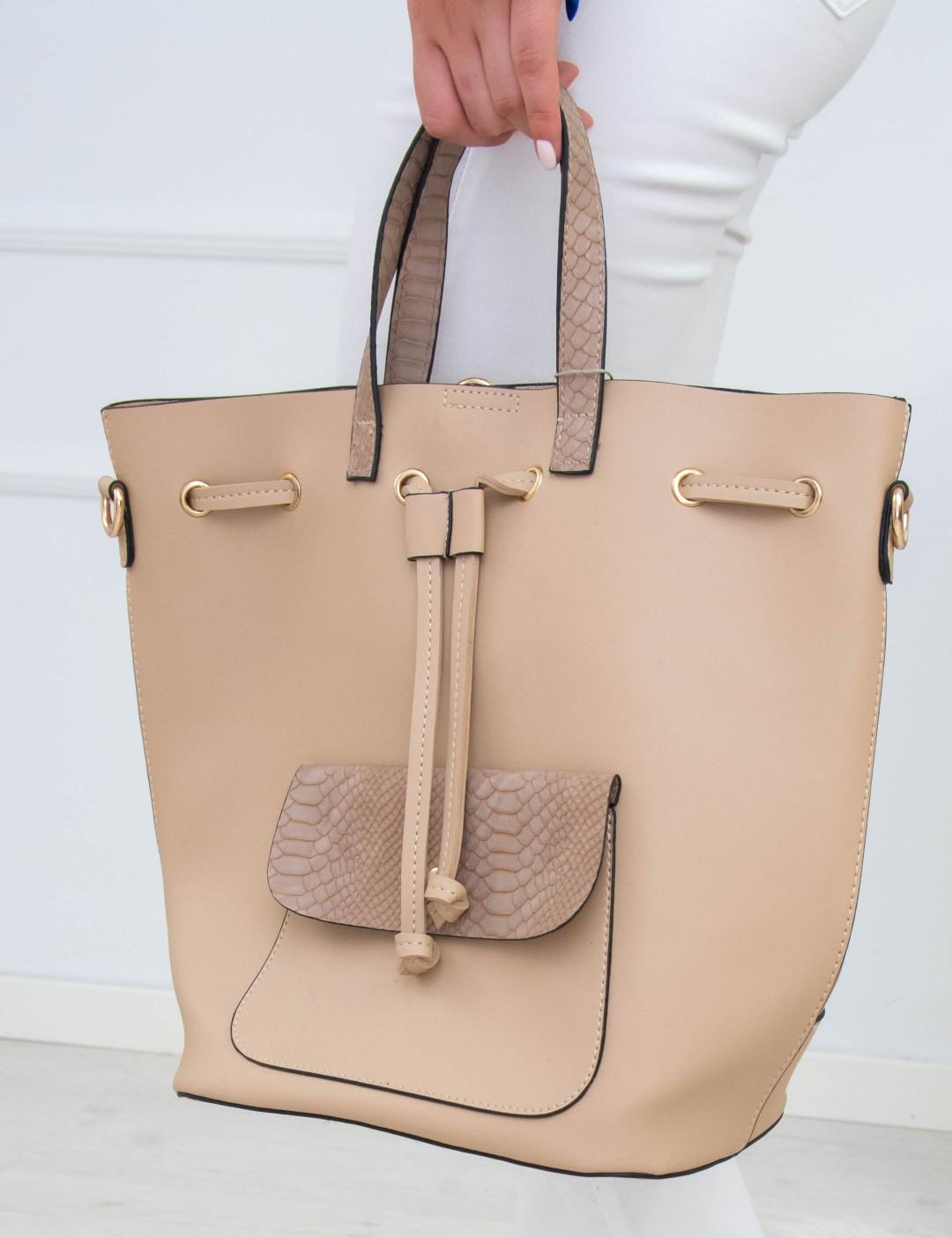179b09cc21 Γυναικεία μπεζ τσάντα ώμου πουγκί κρόκο σχέδιο 6060G