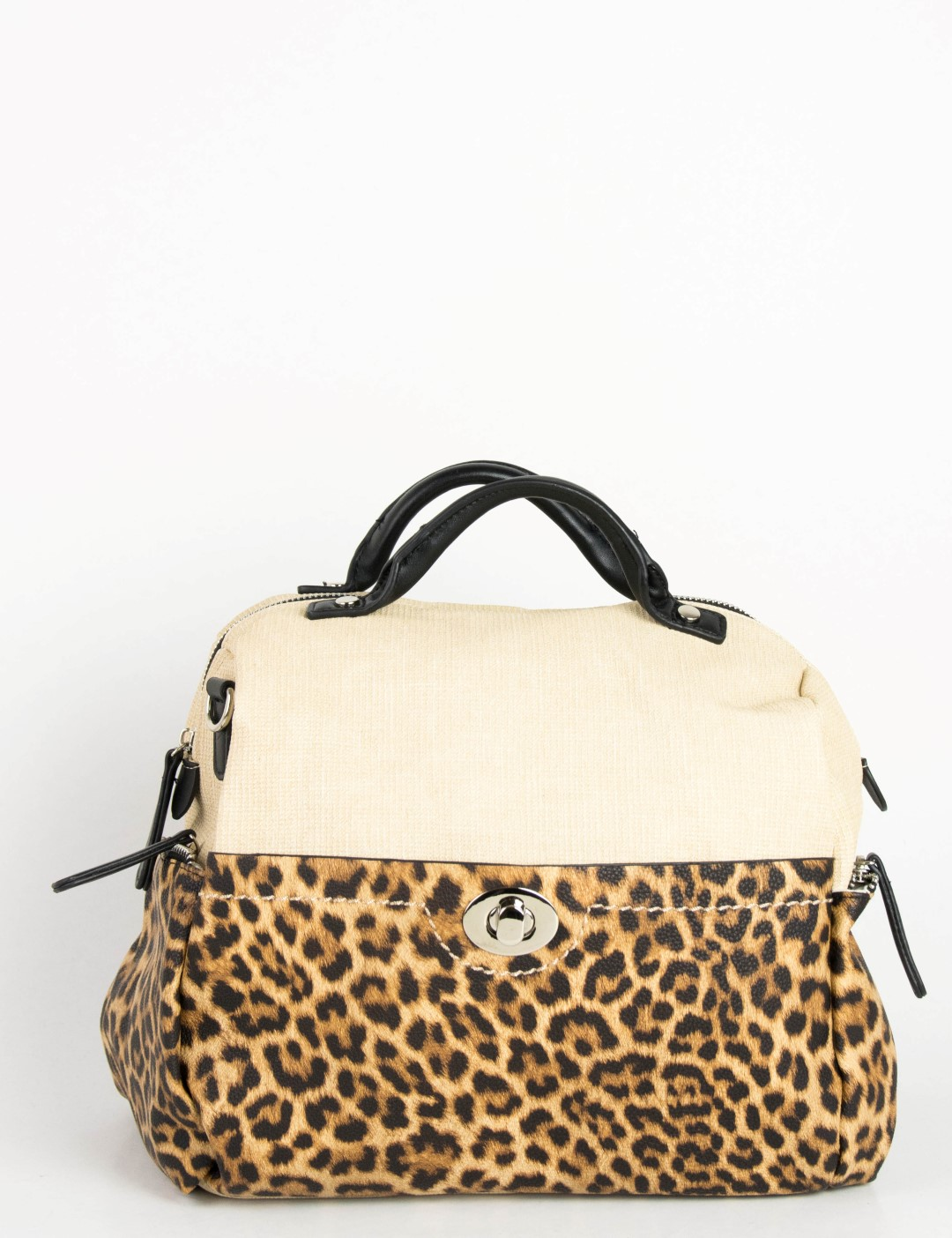3867689ad2 Γυναικεία λεοπάρ τσάντα ώμου μπεζ υφασμάτινη CFC7123G