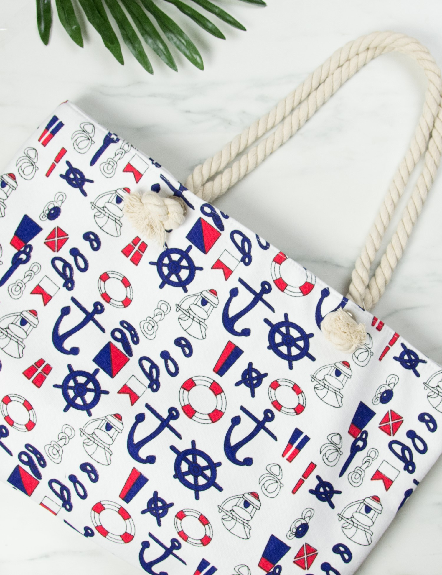 91dfcb1126b Γυναικεία λευκή τσάντα θαλάσσης τετράγωνη με άγκυρες 3045