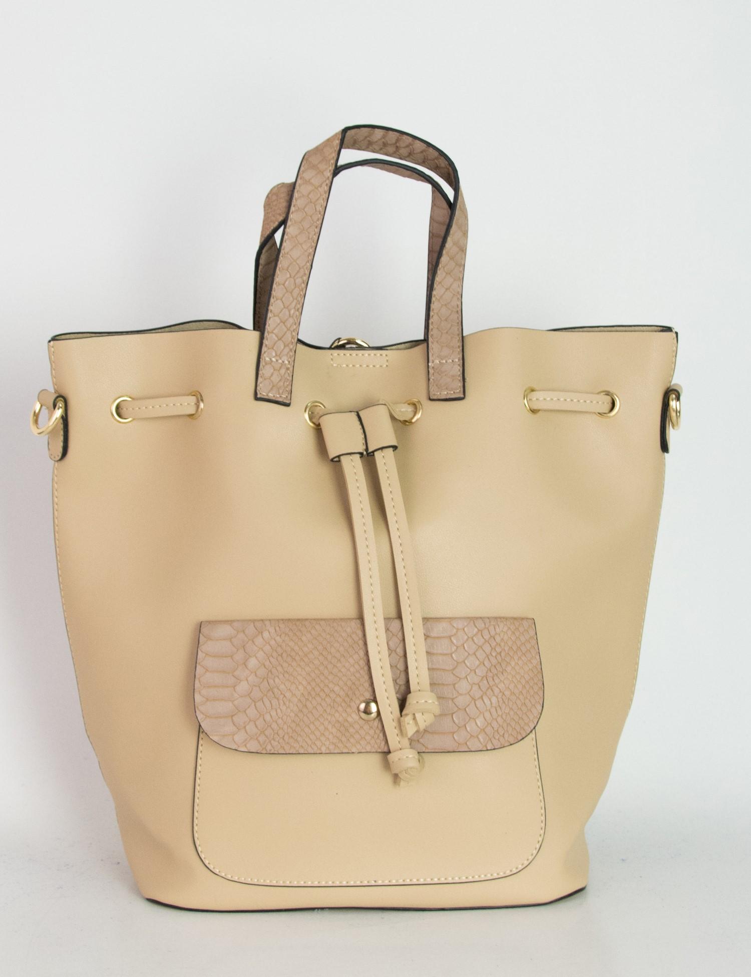 1ab4ebca26 Γυναικεία μπεζ τσάντα ώμου πουγκί κρόκο σχέδιο 6060G