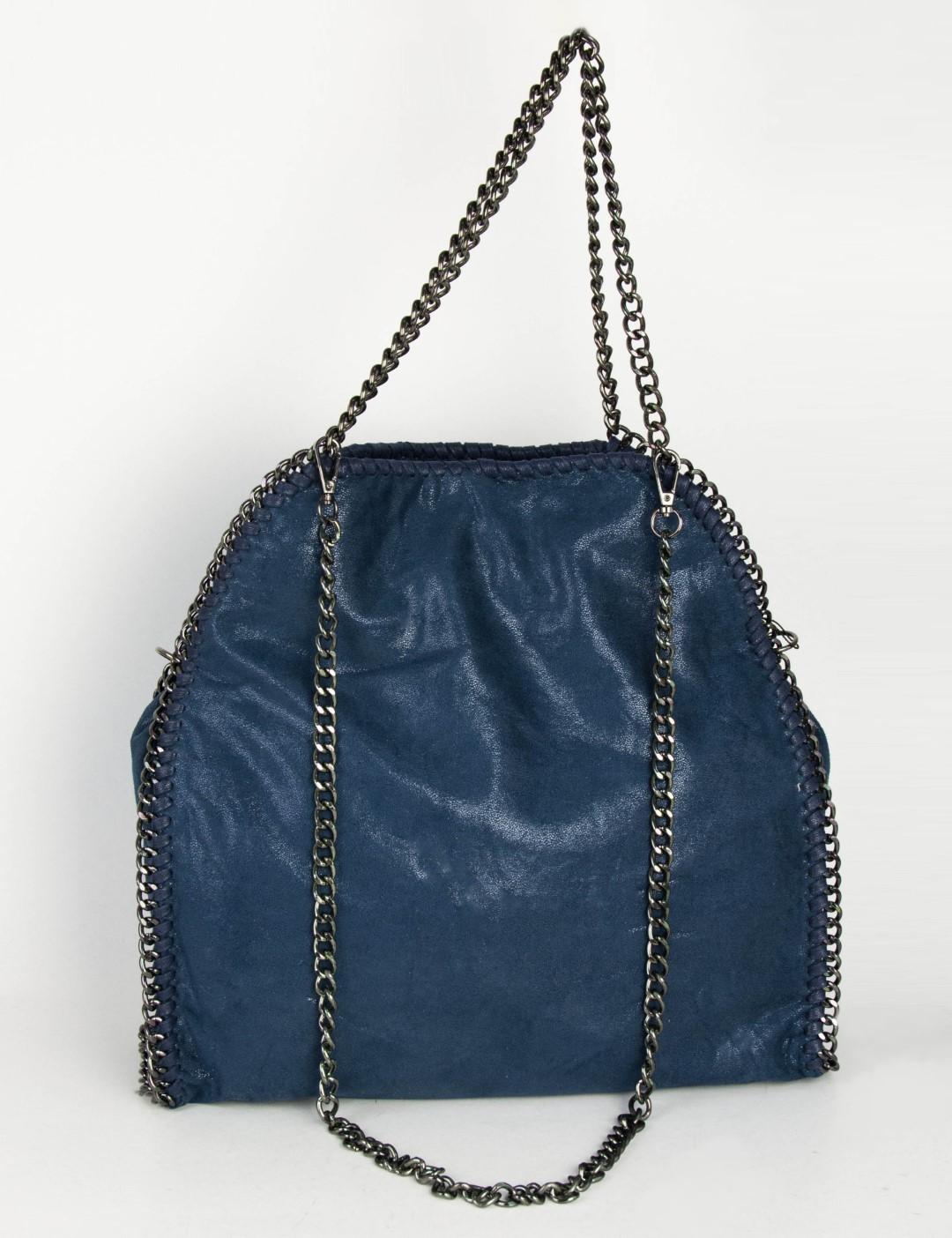 015f84510c Γυναικεία μπλε μονόχρωμη τσάντα ώμου γυαλάδα δερματίνη 9686
